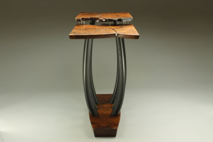 sideview of table, is 29″ x 37″ x 16″ materials: redwood burl, reclaimed ebonized mulberry