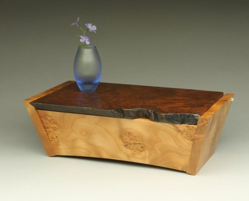 heirlook box with a vase on top, 13″ x 7″ x 4″ materials: unknown burl, blistered big leaf maple