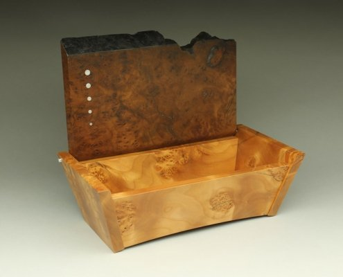 heirloom box with the top open, box is 13″ x 7″ x 4″ materials: unknown burl, blistered big leaf maple