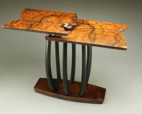 custom side table made of redwood burl, reclaimed ebonized mulberry