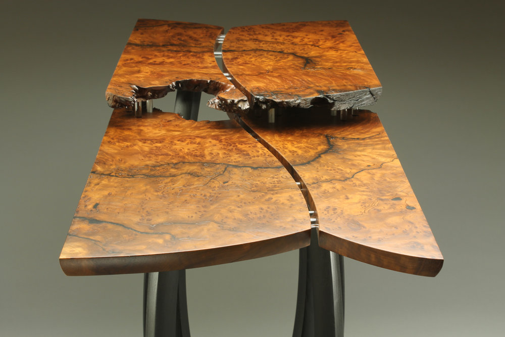 top view of table, is 29″ x 37″ x 16″ materials: redwood burl, reclaimed ebonized mulberry