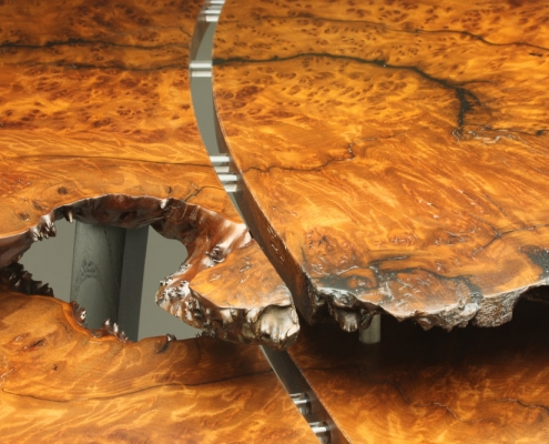 detailed view of table, is 29″ x 37″ x 16″ materials: redwood burl, reclaimed ebonized mulberry