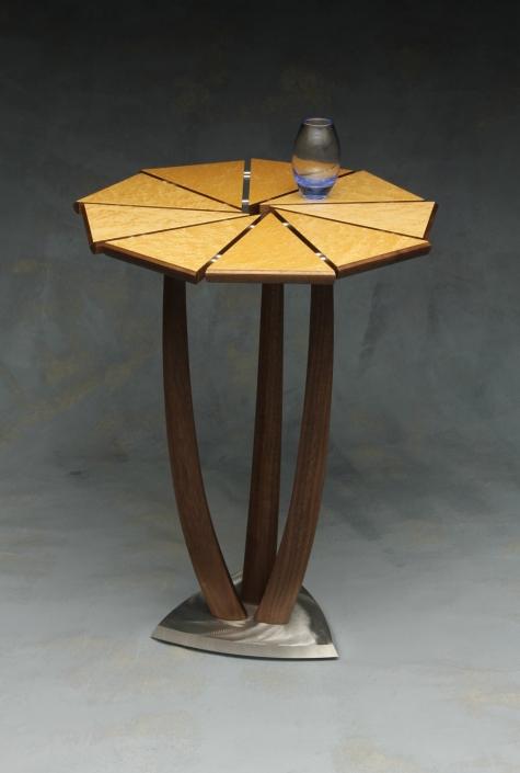 table called joyous, 19″ x 15″ x 15″ materials: birds eye maple veneer, walnut veneer, reclaimed walnut