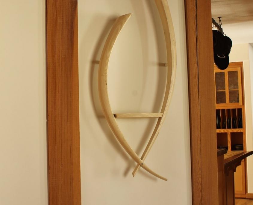 on the wall, custom shelf, bleached ash wood