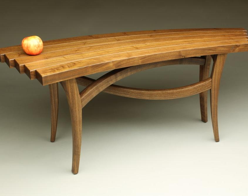 custom helix bench made of walnut wood