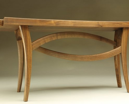 underside view, custom helix bench made of walnut wood