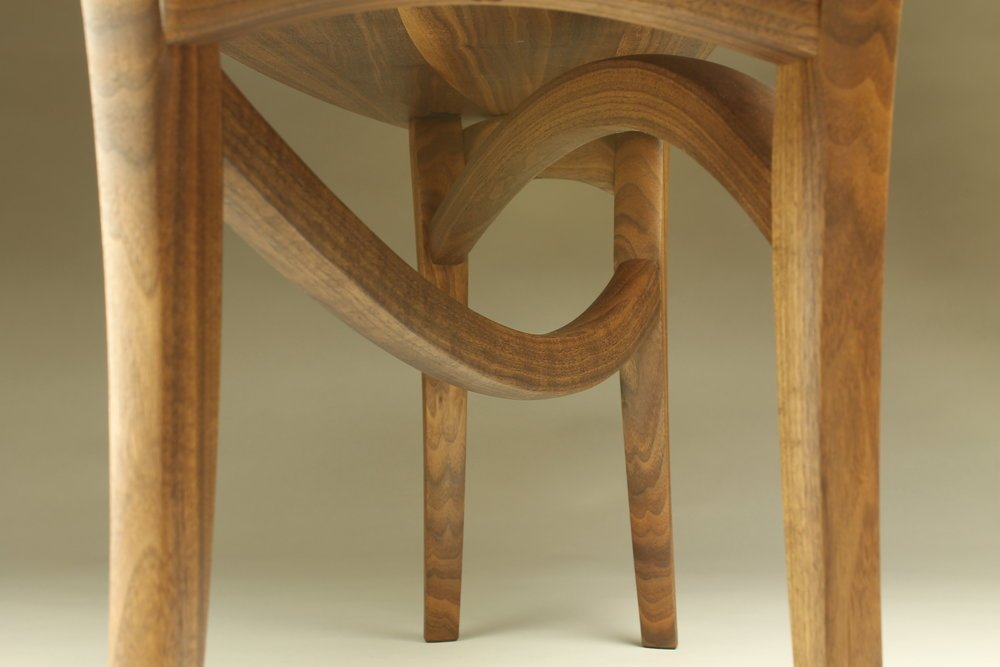 leg view, custom helix bench made of walnut wood