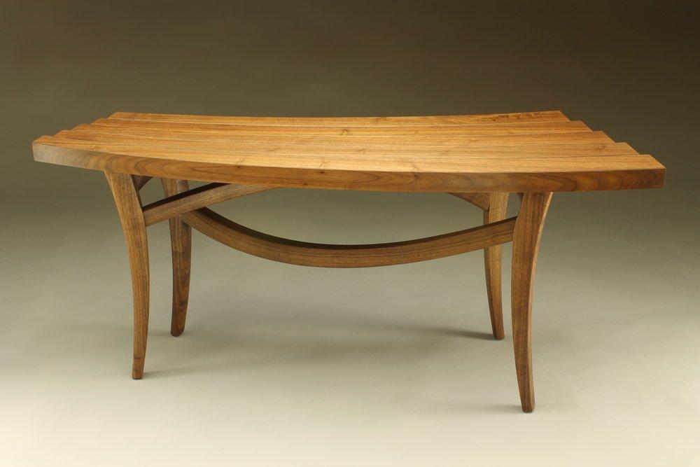back view, custom helix bench made of walnut wood