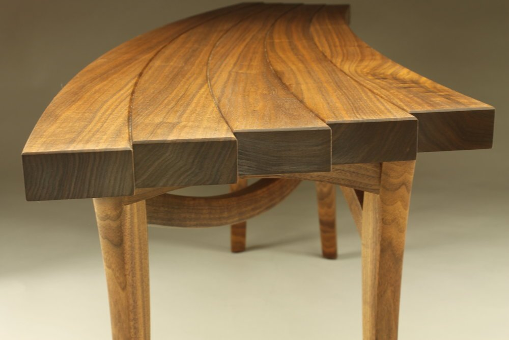 detailed side view, custom helix bench made of walnut wood