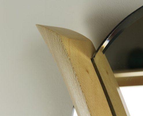 detailed side, custom mirror, sycamore wood