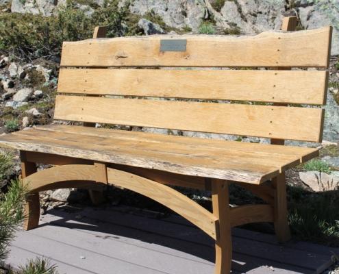 right side view, custom surfboatrd bench made of reclaimed white oak