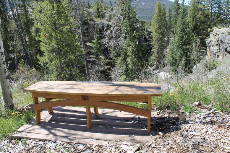 custom surfboatrd bench made of reclaimed white oak