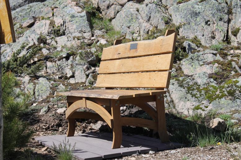distant view, custom surfboatrd bench made of reclaimed white oak