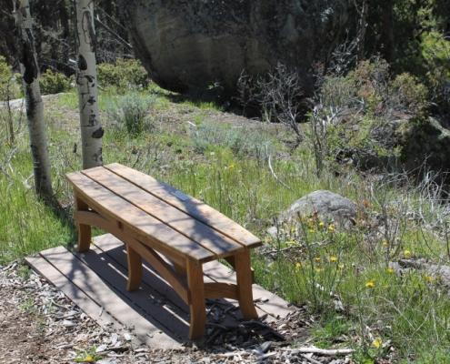 top view, custom surfboatrd bench made of reclaimed white oak