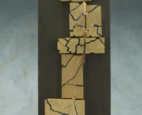 sculpture, made of antique heart pine, ebonized ash
