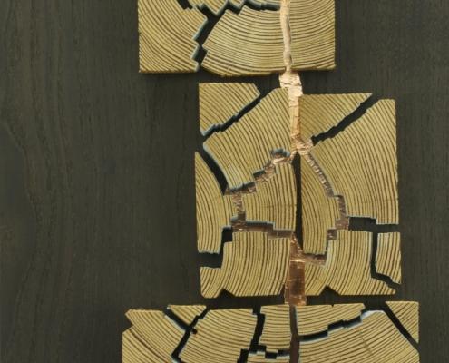 close up, sculpture, made of antique heart pine, ebonized ash