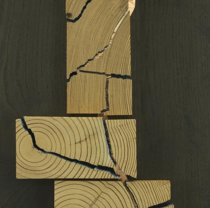 close up 2, sculpture, made of antique heart pine, ebonized ash