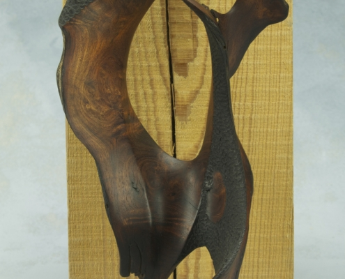 angle, sculpture made of mesquite wood
