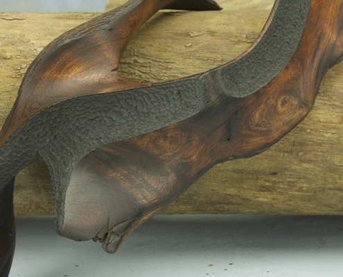 close up 2, sculpture made of mesquite wood