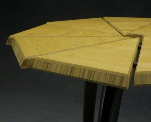 custom table made from bamboo and ebonized ash