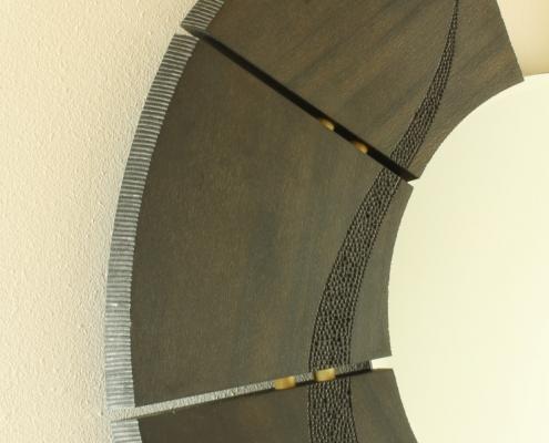 details, custom wall mirror, sycamore wood
