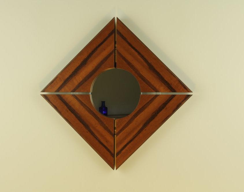 custom mirror, solid wood edging