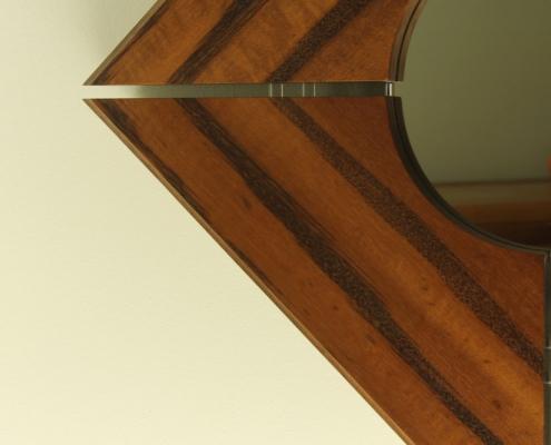details, custom mirror, solid wood edging