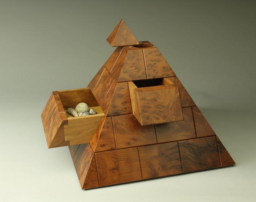 heirloom treasure box, burl cherry pyramid box