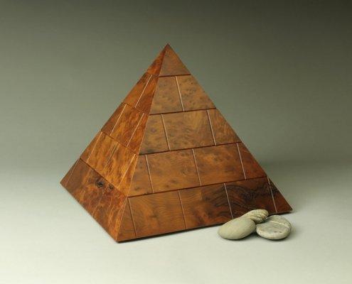 heirloom treasure box, burl cherry pyramid box, closed
