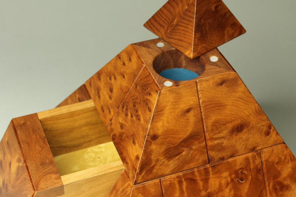 heirloom treasure box, burl cherry pyramid box, open top