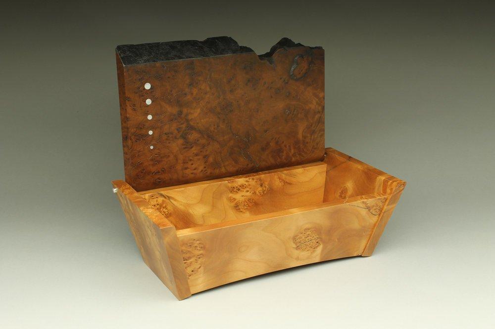 heirloom treasure box, live edge box, open top