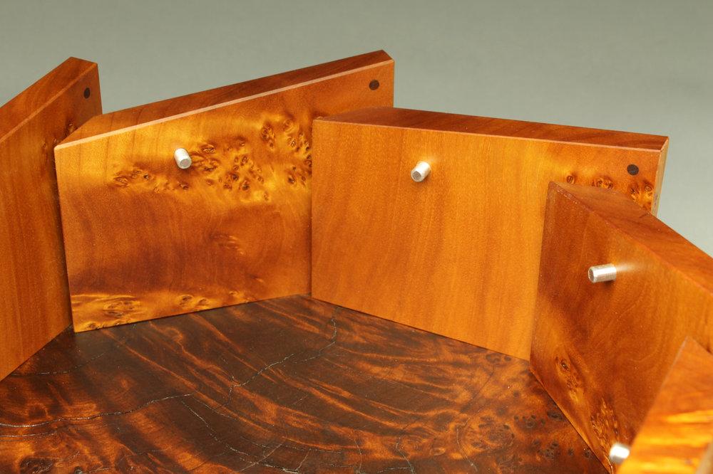 heirloom treasure box, octagon box, dowel detail